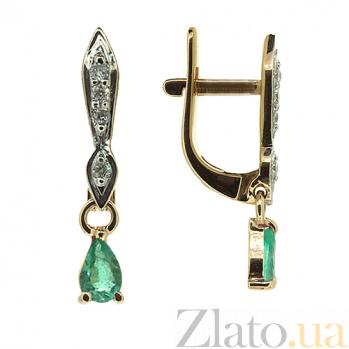 Золотые серьги с бриллиантами и изумрудами Жаклин ZMX--EDE-6805_K