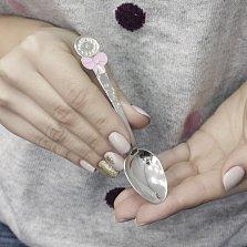 Серебряная столовая ложка Дюймовочка с весами, бантом, звездами и розовой эмалью