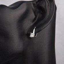 Золотые серьги Айсель в белом цвете с бриллиантами