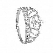 Серебряное кольцо Диадема с тремя белыми фианитами и родиевым покрытием