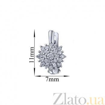 Серебряные серьги Белоснежные пионы с кристаллами циркония и родием 000096510