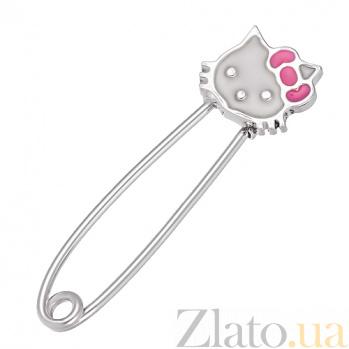 Детская серебряная булавка Китти с белой эмалью и розовым бантиком LEL--09055