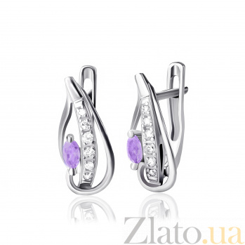 Серебряные серьги Акация с фиолетовым и белым цирконием SLX--С2ФА/070