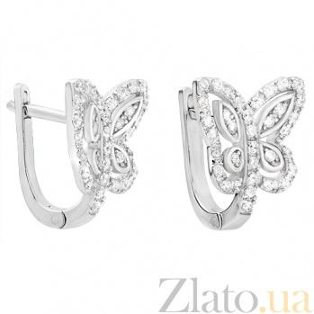 Серебряные серьги Лунные бабочки 33290