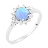 Серебряное кольцо Людвика с голубым опалом и цирконием