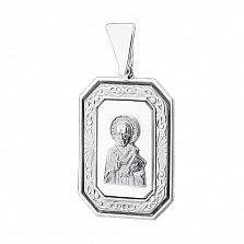Серебряная ладанка Святой Николай с белым перламутром