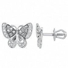 Золотые пуссеты в форме бабочки Мишель в белом цвете с бриллиантами