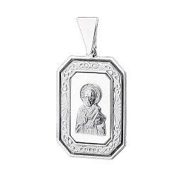 Серебряная ладанка Святой Николай с белым перламутром 000061377