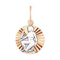 Золотая подвеска Дева в комбинированном цвете 000134151