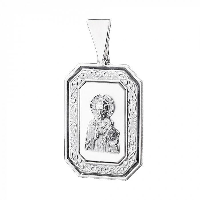 Серебряная ладанка Святой Николай с белым перламутром 000061377 000061377
