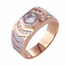 Золотое кольцо-печатка с фианитами Аскольд