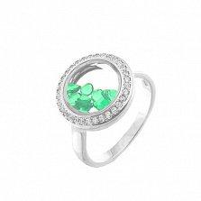 Серебряное кольцо Плавающие камни с зелеными и белыми фианитами
