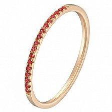Золотое кольцо Сия в красном цвете с рубинами