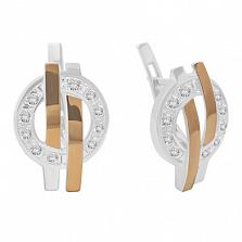 Серебряные серьги с золотыми вставками и фианитами Доллар