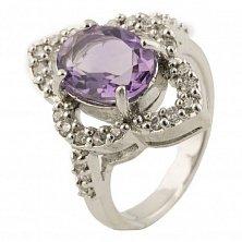Серебряное кольцо Глория с аметистом и фианитами