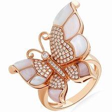Кольцо в красном золоте Шикарная бабочка с перламутром и бриллиантами
