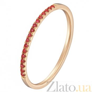 Золотое кольцо Сия в красном цвете с рубинами 000043300
