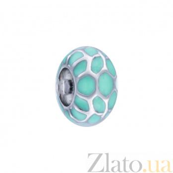 Серебряная бусина с муранским стеклом Морская гладь AQA--135510012/1