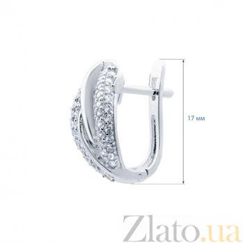 Серебряные серьги с цирконом Паулина AQA--XJE-0151-2