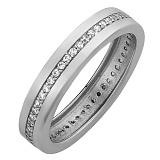 Обручальное кольцо в белом золоте Гортензия с фианитами