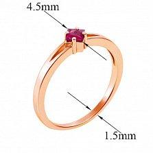 Золотое кольцо Стефани в красном золоте с рубином