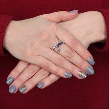 Серебряное кольцо Донателла с гранатом, зеленым кварцем и фианитами