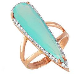 Золотое кольцо Галадриэль с аквамарином и фианитами