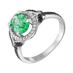 Серебряное кольцо Анемона с зеленым кварцем, черными и белыми фианитами