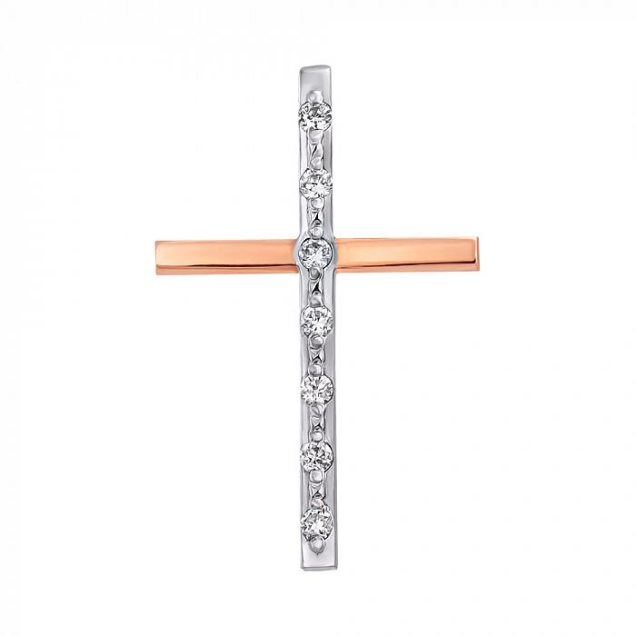 Золотой декоративный крестик в комбинированном цвете с дорожкой бриллиантов 000104419 000104419