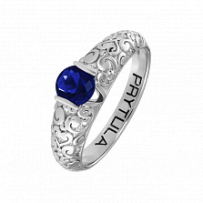 Золотое помолвочное кольцо День и Ночь с узорной шинкой и сапфиром