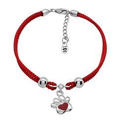 Шелковый браслет Лапка с сердцем, красной эмалью и серебряной подвеской,10х10 мм