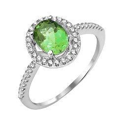 Серебряное кольцо с изумрудом и фианитами 000132329