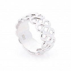 Серебряное кольцо с родием и широкой шинкой 000087974
