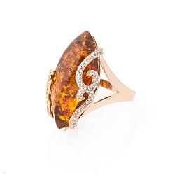 Золотое кольцо Селена в красном цвете с коньячным янтарем и фианитами 000082399