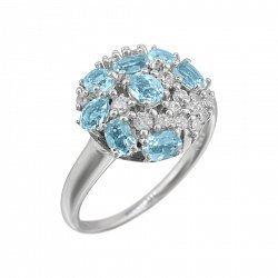 Серебряное кольцо Августина с топазами, голубым хризолитом и фианитами