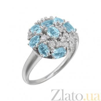 Серебряное кольцо Августина с топазами, голубым хризолитом и фианитами 000081545