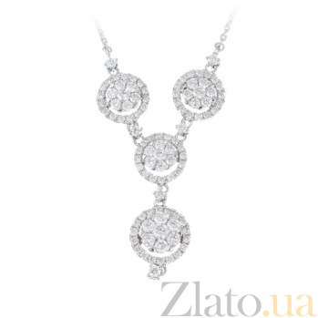 Колье из белого золота с бриллиантами Luxury 1Л193-0035