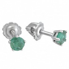 Серебряные серьги-пуссеты Карина с изумрудами