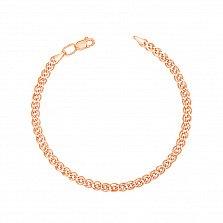 Золотой браслет Нонна с родированной алмазной гранью, 3мм