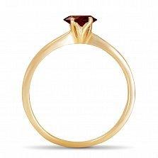 Золотое кольцо Ясмин с сердцем в четырех крапанах и рубином
