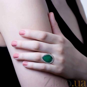 Серебряное кольцо с зеленым агатом Версаль AQA--R02444Ag