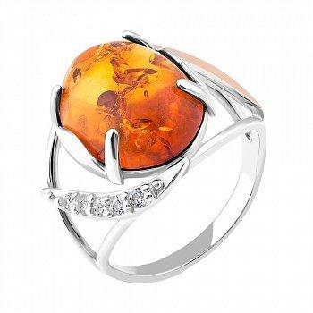 Серебряное родированное кольцо с золотой накладкой, янтарем и фианитами 000102801