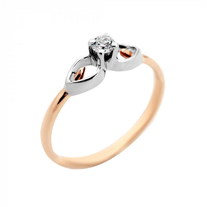 Золотое помолвочное кольцо Элизиум в комбинированном цвете с бриллиантом VLA--14760