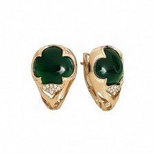 Золотые серьги с зеленым агатом Михримах