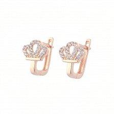 Золотые серьги Инфанта с кристаллами циркония