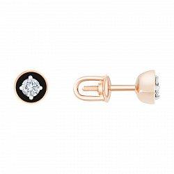 Золотые сережки-пуссеты в красном цвете с бриллиантами и чёрной эмалью Валери