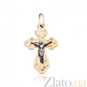 Крестик из красного золота Молитва 000001589
