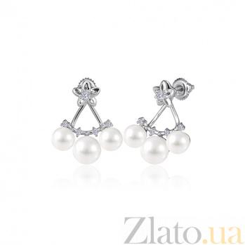 Серебряные серьги с жемчугом и цирконием Атлантида SLX--С2ФЖ/836