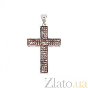 Серебряный крестик с фианитами Полночь 3П543-0037