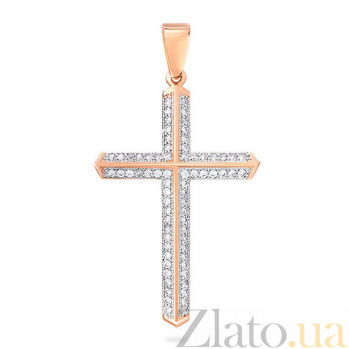 Золотой крестик с фианитами Элизиум SUF--440548